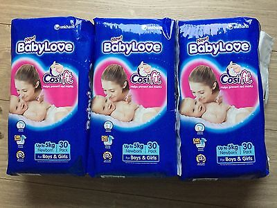 BabyLove Newborn Up To 5kg Baby Nappy Nappies 3 X 30 Pack