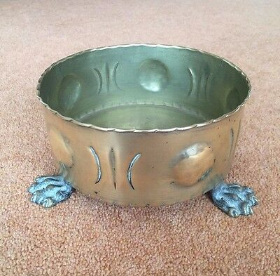 vintage brass plant pot holder with claw feet