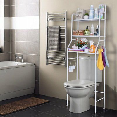 3-SHELF OVER Toilet Bathroom Storage Organizer Cabinet Space Saver ...