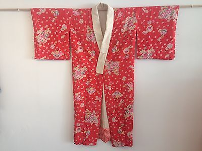 Red Floral Vintage Antique Very Old Japanese Kimono One of a Kind