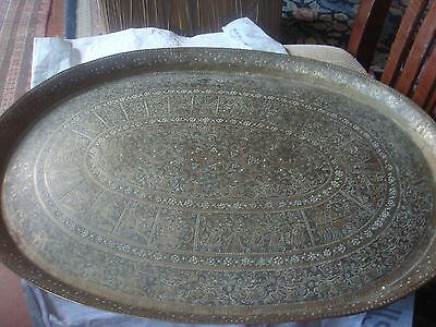 Very Big Antique Brass Tray Or Charger Weighs 3.5Kg And 64,5 Cm Long A Beauty
