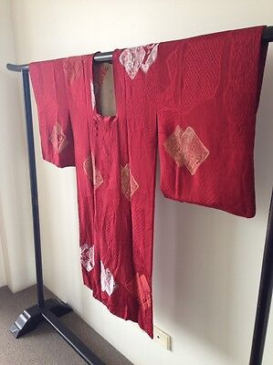 Vintage Japanese Red Silk Kimono Woman's One of a Kind Hand Made Jacket