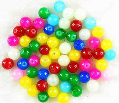 Mixed Color Czech Opaque Solid Glass Pearl Round Spacer Loose Beads 100Pcs 6mm