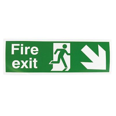 Safety Sign Fire Exit Running Man Arrow Down/Right 150x450mm  [SR71721]