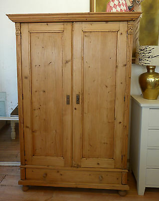 Antique Pine Knock Down Double Wardrobe Amoire with Drawer