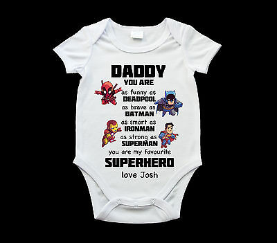 Father's Day Superhero Dad baby onsie, personalised romper suit, Baby one pie...