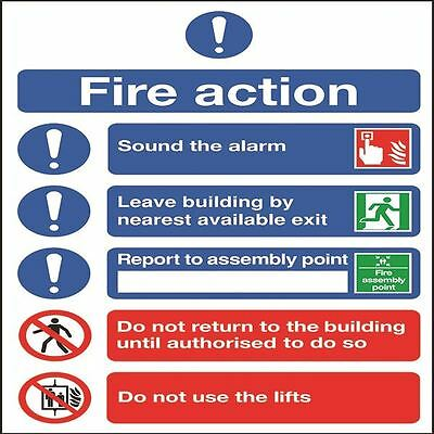 Safety Sign Fire Action Symbols A4 Self Adhesive FR09950S [SR92017]