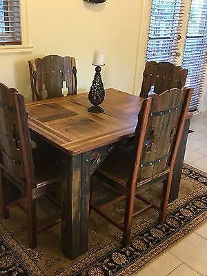 Handcrafted Gothic/Medieval Inspired Dining Table And 4 Chairs