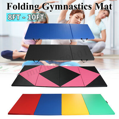 6FT - 10FT Folding Gymnastics Tumble Floor Mat Yoga Exercise Fitness Pilates Gym