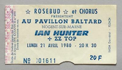 IAN HUNTER (Mott The Hoople) + ZZ TOP - rare original Paris 1980 concert ticket