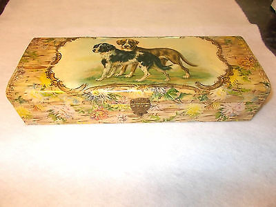 Antique Vintage Dog Scene Lined Glove Box with Gloves