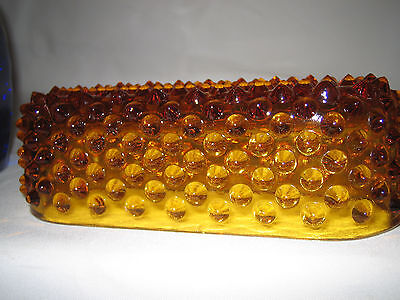 Vintage Amber Glass Hobnail Butter Dish Lid LOOK ! RARE