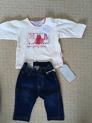 Pumpkin Patch Baby Girl Outfit (jeans & top) 0-3 Months BNWT