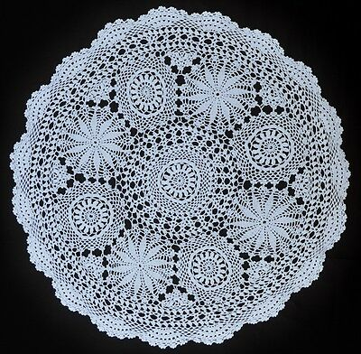 Vintage Crochet Doily - 49cm Round - White Cotton - Handmade - Floral Medallions