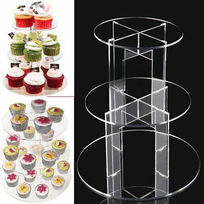 UK 3 Tier Round Clear Acrylic Cupcake Party Wedding Cake Display Tower Stand