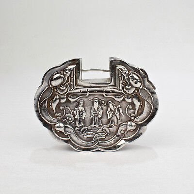 Old or Antique Chinese Silver or Silver Plate Lock for Furniture or Boxes - SL
