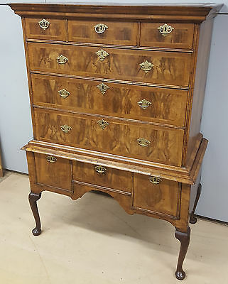 18thC Featherbanded Walnut Chest on Stand