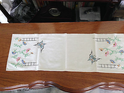"""Vintage  Embroidered Cotton Dresser Scarf  Runner Floral Butterfly 10""""X 31"""""""