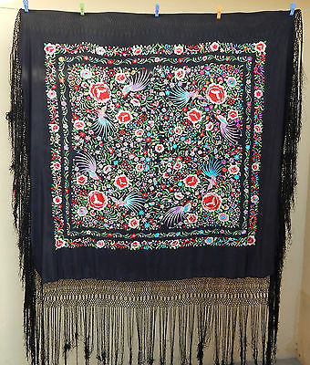 Antique Beautiful Chinese Hand Embroidered Silk Piano Shawl Multi Color Ps56