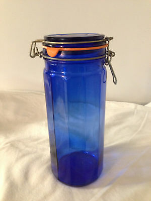 """Cobalt Blue Glass 12 Paneled Canister Container Hinged Bale Wire Lid 10"""" Tall"""