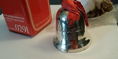 1991 Silver Plated Engraved CHRISTMAS BELL International Silver Company Orig Box