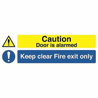 Safety Sign 150x450mm Caution Door is Alarmed Keep Clear Fire  [SR72031]