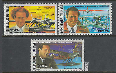 XG-AK296 MALI IND - Aviation, 1986 Jean Mermoz Disappearing Anniv. MNH Set
