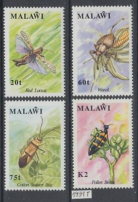 XG-AJ726 MALAWI - Insects, 1991 Flowers, Flora, Nature MNH Set