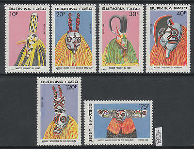 XG-AK436 BURKINA FASO - Masks, 1988 Folklore, Costumes MNH Set