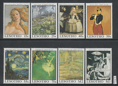 XG-AJ533 LESOTHO - Paintings, 1988 Van Gogh, Botticelli, Picasso MNH Set