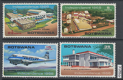 XG-AK041 BOTSWANA - Independence, 1966 Aviation, Architecture, 4 Values MNH Set
