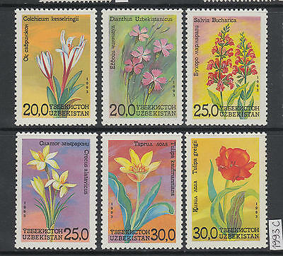 XG-AJ641 UZBEKISTAN - Flowers, 1993 Flora, Nature, 6 Values MNH Set