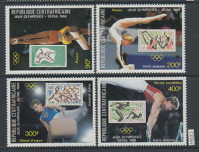 XG-AJ661 CENTRAL AFRICAN - Olympic Games, 1988 Seoul, Stamp On Stamp MNH Set
