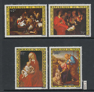 XG-AJ598 CHAD IND - Paintings, 1975 Christmas, Airmail, 4 Values MNH Set