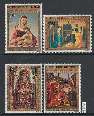 XG-AJ599 CHAD IND - Paintings, 1972 Christmas, Airmail, 4 Values MNH Set