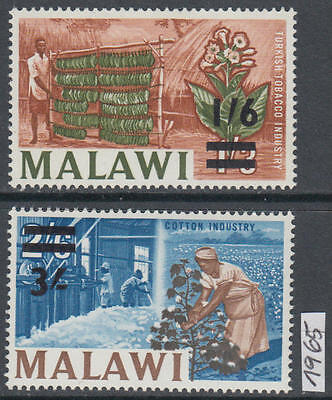 XG-AK607 MALAWI - Industry, 1965 Tobacco, Cotton, Overprinted MNH Set