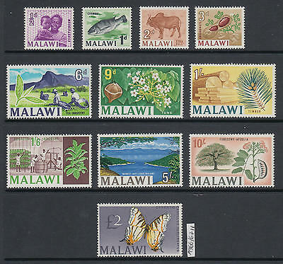 XG-AK841 MALAWI - Definitives, 1966/7 Nature, Butterflies, Fish, 11V MNH Set