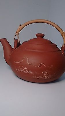 Antique Chinese Yixing Terra Cotta Scenic Carved Teapot