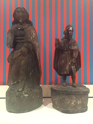Pair Of Spanish Colonial Carved Wood Santos Figures