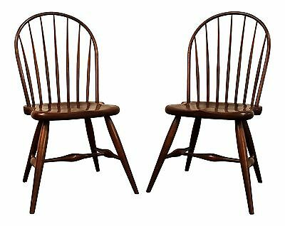 Pair of Contemporary Duckloe Bros Cherry Hoop-Back Windsor Side Chairs