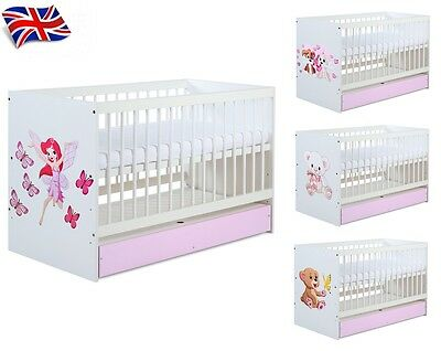 Baby Child White Cot Bed With Pink Drawer And Beautiful Design+Free Mattress