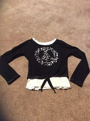 Justice Girls Size 6 Black Long Sleeve Crop Top With Peace Sign And White Tank