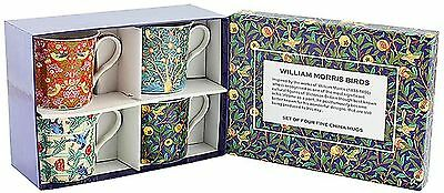 set of 4 fine china mugs  william morris birds in a gift box