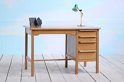 Vintage MidCentury Blond Single Pedestal Wooden School Office Writing Desk