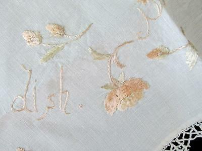 Antique SILK EMBROIDERED Serving Linen SHE BROUGHT FORTH BUTTER IN A LORDLY DISH