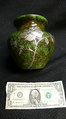 Antique Heintz Bronze & Silver Vase Arts & Crafts Craftmans Era Mission Style