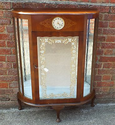 Vintage Wooden Glass Cabinet With Working Smiths Clock Inset