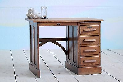 Antique Vintage Solid Oak Single Pedestal School Office Writing Desk