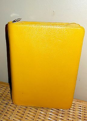 Franklin Covey  Yellow   Leather Classic Size Binder Organizer Pre-Owned