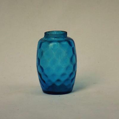 Antique Mold Blown Blue Honeycomb Glass Salt Shaker, Possibly Washington 1880s